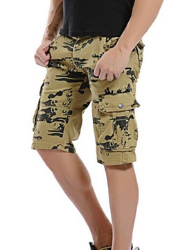 Camouflage Zipper Men's Shorts with Side Pocket