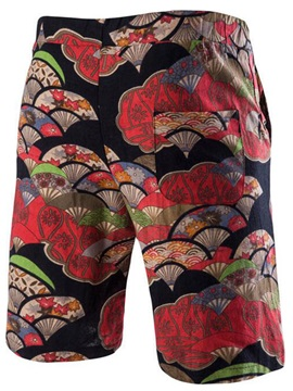 Lace-Up Floral Printed Men's Loose Fit Shorts