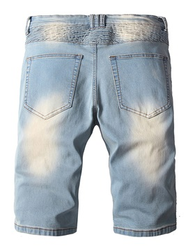 Tidebuy Worn Zipper Pleated Straight Men's Denim Shorts
