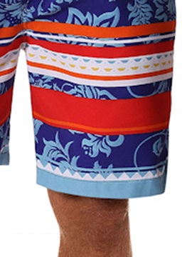 Summer Straight Lace-Up Color Block Men's Casual Shorts