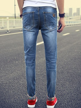 Slim Fit Long Legs Low Waist Men's Denim Pencil Pants