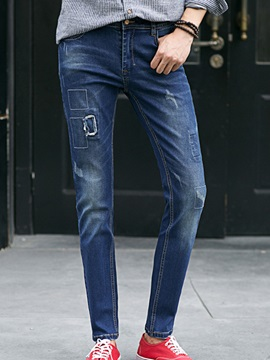Patch Design Slim Fit Men's Denim Pants