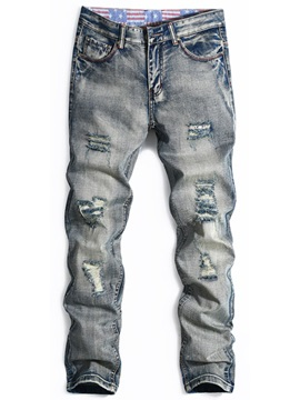 Worn Zipper Straight Men's Mid-Waist Jeans