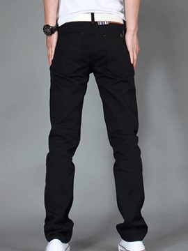 Plain Zipper Men's Loose Fit Jeans