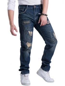 Worn Loose Fit Straight Men's Jeans