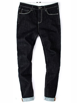 Fleece Zipper Side Pocket Men's Pencil Jeans
