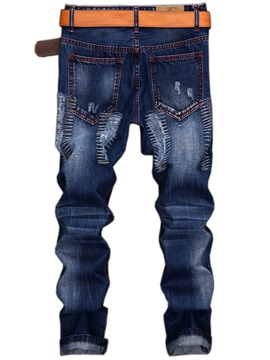 Mid-Waist Worn Straight Casual Men's Jeans