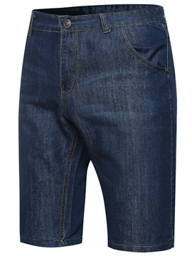 Mid-Waist Plain Knee Length Men's Leisure Jeans