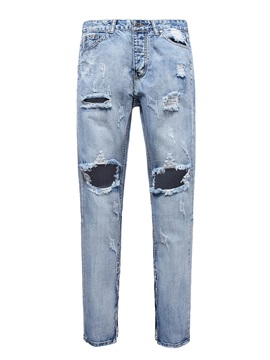 Worn Hole Plain Straight Men's Jeans