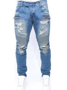 Mid-Waist Thin Zipper Worn hole Men's Denim Pants