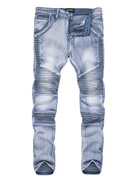 Mid-Waist Worn Slim Men's Denim Pencil Pants