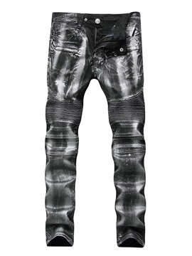 Tidebuy Slim Fit Men's Slim Biker Jeans with Zipper