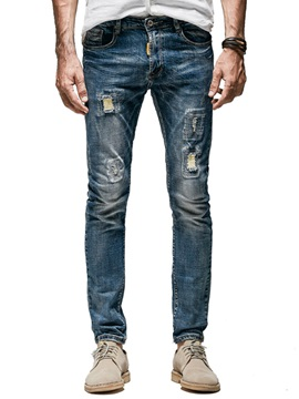 Tidebuy Mid-Waist Worn Hole Men's Fashion Jeans