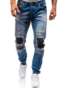 Tidebuy Hole Patchwork Straight Men's Jeans