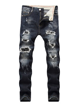 Tidebuy Hole Zipper Slim Fit Men's Ripped Jeans
