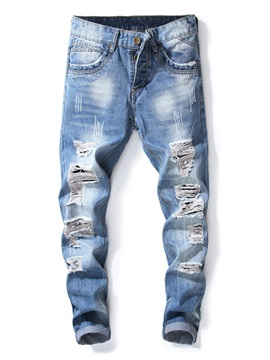 Tidebuy Hole Zipper Men's Ripped Jeans