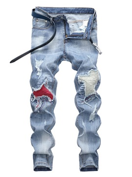 Plain Worn Hole Pleated Men's Ripped Jeans
