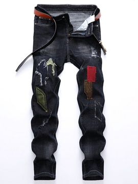 Worn Hole Patchwork Pleated Men's Ripped Jeans