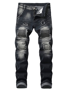 Worn Pleated Hole Men's Ripped Jeans