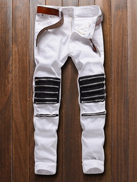 Patchwork Zipper Designed Men's Jeans