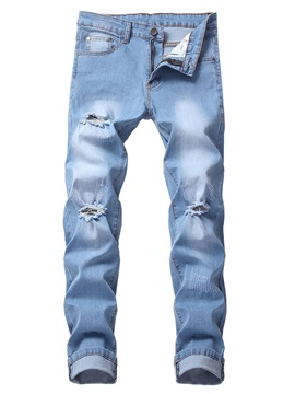 Hole Plain Pocket Men's Ripped Jeans