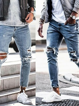 Thin Hole Fashion Men's Ripped Jeans
