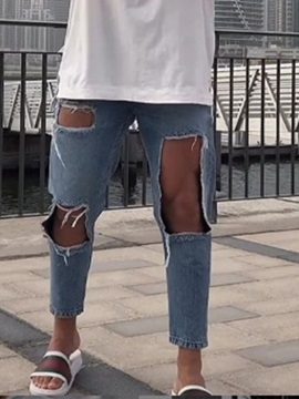 Fashion Plain Hole Men's Ripped Jeans