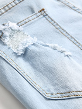 Hole Floral Embroidery  Men's Jeans