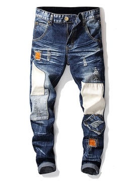 Zipper Color Block Worn Men's Jeans