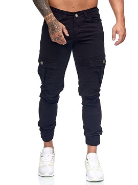 Overall Plain Zipper Pocket Men's Jeans