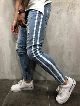 Hole Stripe Pencil Pants Zipper Men's Jeans