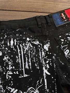 Animal Straight Thin Embroidery Zipper Men's Jeans