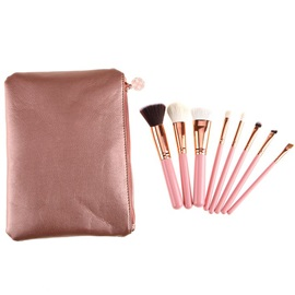 8-Piece Pink Makeup Brush Set With Pouch Bag