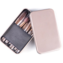 12 Pcs Synthetic Fibre Coffee Cosmetic Brush Set