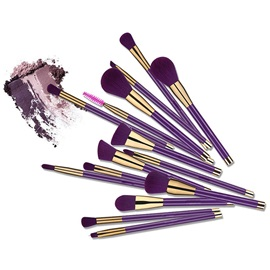 15 Pcs Makeup Brush Kit Dark purple Long handle Full Beauty Tools