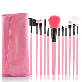 12 Pcs Long Handle Design Fiber Head Makeup Brush