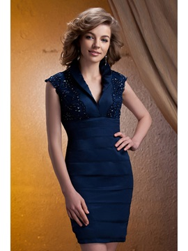 V-neck Knee-length Tiered Lace Embellishing Mother of The Bride Dress