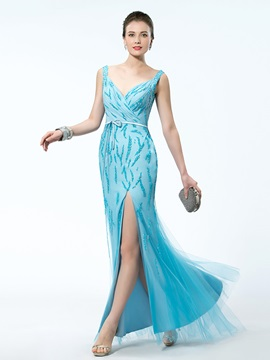 Captivating Split-Front Beading V-Neck Slender Sash Floor-length Evening Dress