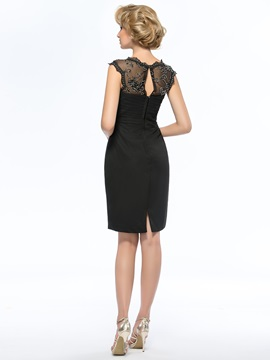 Sheer Lace Jewel Neck Short Black Mother Of The Bride Dress