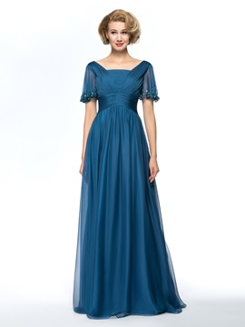 Square Neck Beaded Short Sleeve Long Chiffon Mother of the Bride Dress