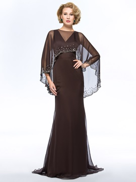 V-Neck Floor-Length Sweep Train Plus Size Mother of the Bride Dress With Jacket/Shawl