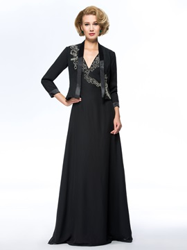 V-Neck Beaded Black Long Plus Size Mother of the Bride Dress With Jacket/Shawl