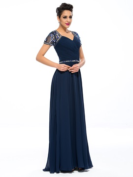 Delicate Beaded Short Sleeve Pleats Mother of the Bride Dress