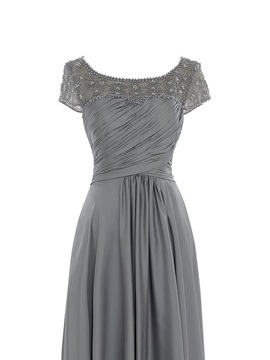 Elegant Pleats Beading Short Sleeve Mother of the Bride Dress