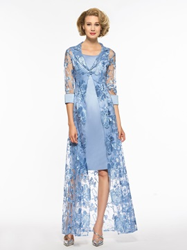 Straps Column Mother of the Bride Dress with Half Sleeves Jacket