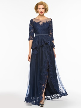 Sheer Neck Appliques Split-Front Mother of the Bride Dress with Sleeves