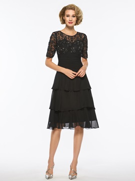 Short Sleeve Lace Tiered Mother of the Bride Dress