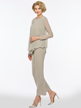 Loose 3 Pieces Mother of the Bride Pantsuits with Long Sleeve Jacket