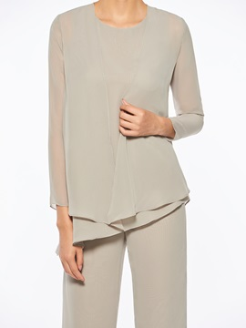 a5045afd61f ... Loose 3 Pieces Mother of the Bride Pantsuits with Long Sleeve Jacket ...