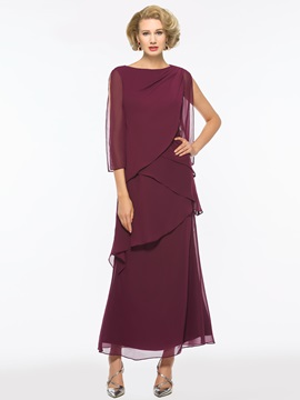 Bateau Neck Tiered Chiffon Ankle-Length Mother of the Bride Dress